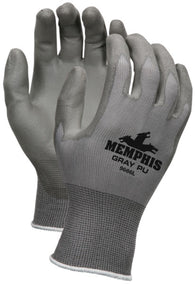 MCR Safety Large Economy 13 Gauge Gray Polyurethane Palm And Finger Tip Coated Work Gloves With Gray Nylon Liner And Knit Wrist
