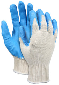 MCR Safety Large Memphis Latex Palm And Finger Tip Coated Cotton/Polyester Work Gloves