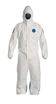 DuPont Size 2X White/Blue Tyvek® 400D 5.9 mil Tyvek®/ProShield® Bib Pants/Overalls With Attached Hood -Price is per 1 Each