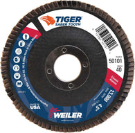 "Weiler® Tiger® Ceramic 4 1/2"" X 7/8"" 40 Grit Type 29 Flap Disc   -Price is per 10 Each"
