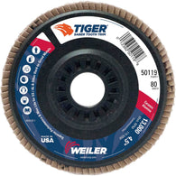 Weiler® TIGer® Saber Tooth 4 1/2 X 7/8 80 Grit Type 29 Flap Disc