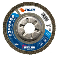 "Weiler® Tiger® 4 1/2"" X 7/8"" 60 Grit Type 29 Flap Disc With Aluminum Backing   -Price is per 1 Each"