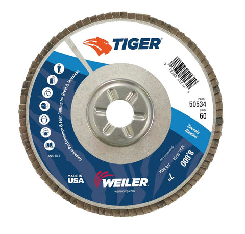Weiler® TIGer® 7 X 7/8 60 Grit Type 29 Flap Disc