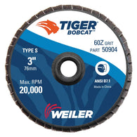 "Weiler® Tiger® Bobcat 3"" X 1/4"" 60 Grit Type 29 Flap Disc   -Price is per 10 Each"