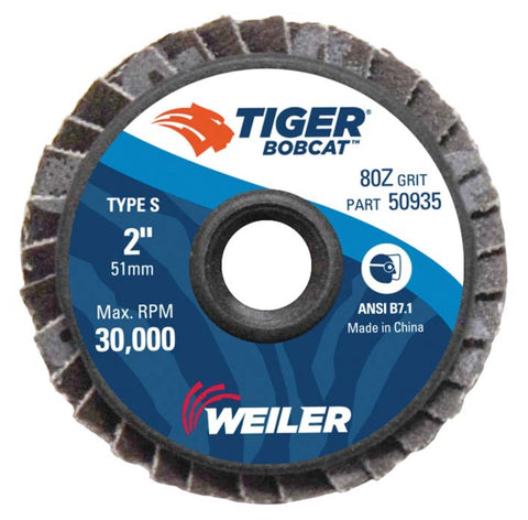 "Weiler® Tiger® Bobcat 2"" X 1/4"" 80 Grit Type 27 Flap Disc"