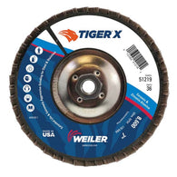 "Weiler® Tiger® X 7"" X 5/8"" - 11"" 36 Grit Type 29 Flap Disc   -Price is per 10 Each"