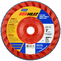 "Norton® Red Heat® 7"" X 7/8"" 60 Grit Type 27 Flap Disc   -Price is per 10 Each"