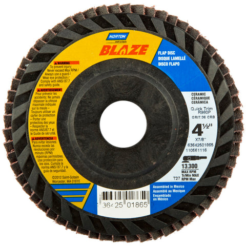 "Norton® Blaze® 4 1/2"" X 7/8"" 60 Grit Type 27 Flap Disc   -Price is per 1 Each"