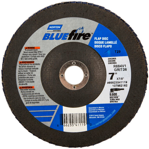 "Norton® BlueFire® 7"" X 7/8"" 40 Grit Type 29 Flap Disc   -Price is per 10 Each"