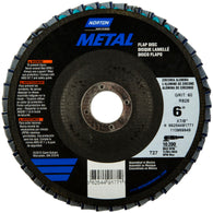 "Norton® Metal® 6"" X 7/8"" 60 Grit Type 27 Flap Disc   -Price is per 10 Each"