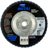 "Norton® Metal® 6"" X 5/8"" - 11"" 60 Grit Type 27 Flap Disc"