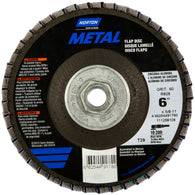 "Norton® Metal® 6"" X 5/8"" - 11"" 60 Grit Type 29 Flap Disc   -Price is per 10 Each"