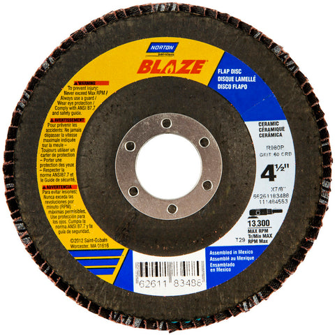 "Norton® Blaze® 4 1/2"" X 7/8"" 40 Grit Type 29 Flap Disc"