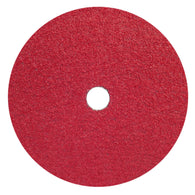 "Norton® 7 "" X 7/8 "" 24 Grit Red Heat Ceramic Alumina Fiber Disc   -Price is per 25 Each"