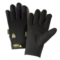 PIP® Medium Black Pro Series® Synthetic Leather Full Finger Mechanics Gloves With Hook And Loop Cuff