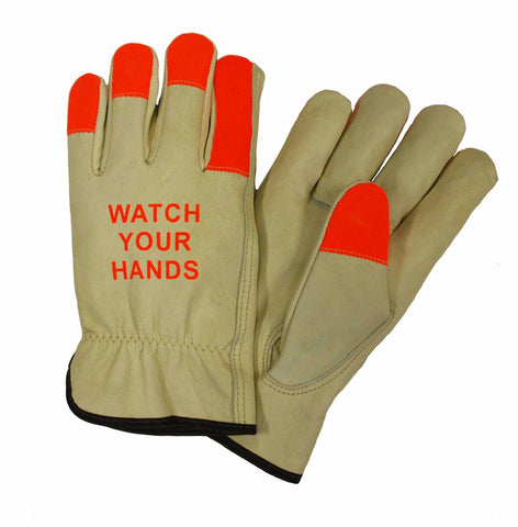 PIP® 2X Natural And Hi-Vis Orange Select Grain Cowhide Unlined Drivers Gloves
