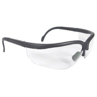 GLASSES SAFETY CLEAR ANTI-SCRATCH JOURNEY BLACK ADJUSTABLE TEMPLE 12/BOX WRAP AROUND DUAL RUBBER NOSEPIECE ANSI Z87.1+