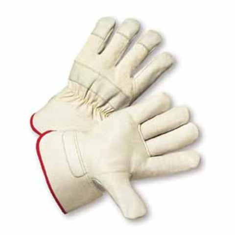 PIP® Medium Premium Heavy Split Leather Palm Gloves With Canvas Back And Rubberized Gauntlet Cuff