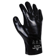 SHOWA® Size 10 Black Cotton Lined PVC Chemical Resistant Gloves   -Price is per 72 Pair