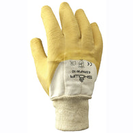 SHOWA® Size 10 Heavy Duty Yellow Natural Rubber Work Gloves With Cotton Liner And Knit Wrist