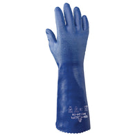 SHOWA® Size 9 Blue Cotton Lined Nitrile Chemical Resistant Gloves   -Price is per 1 Pair