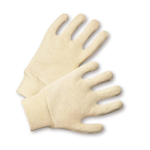 PIP® Natural Large Cotton General Purpose Gloves With Knit Wrist   -Price is per 1 Dozen