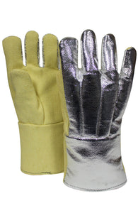 "National Safety Apparel CARBON ARMOUR One Size Fits Most 14"" Yellow 53 Ounce Thermobest Heat Resistant Gloves With Wool Lining And Straight Thumb"