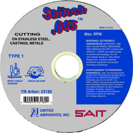"United Abrasives/SAIT 6"" X .045"" X 5/8"" SAITECH Ceramic Aluminum Oxide Type 1 Cut Off Wheel   -Price is per 1 Each"
