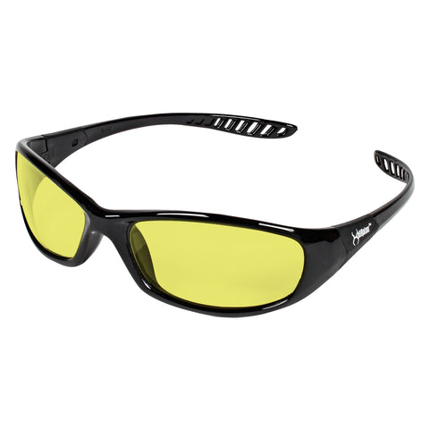 Kimberly-Clark Professional* KleenGuard Hellraiser* Black Safety Glasses With Amber Hard Coat Lens -Price is per 1 Each