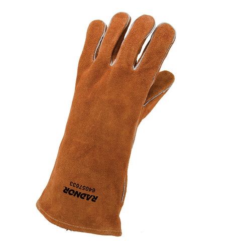 "RADNOR® Large 14"" Brown Select Split Cowhide Cotton Lined Left Hand Welders Glove"