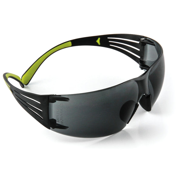 3M SecureFit Black/Green Safety Glasses With Gray Lens