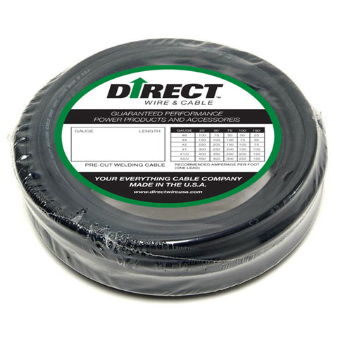Direct Wire & Cable #2 Black Flex-A-Prene Welding Cable 100' Shrink Pack   -Price is per 100 Foot