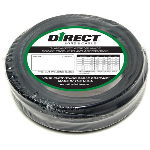 Direct Wire & Cable 8/3 Black Welding Cable 50' Coil