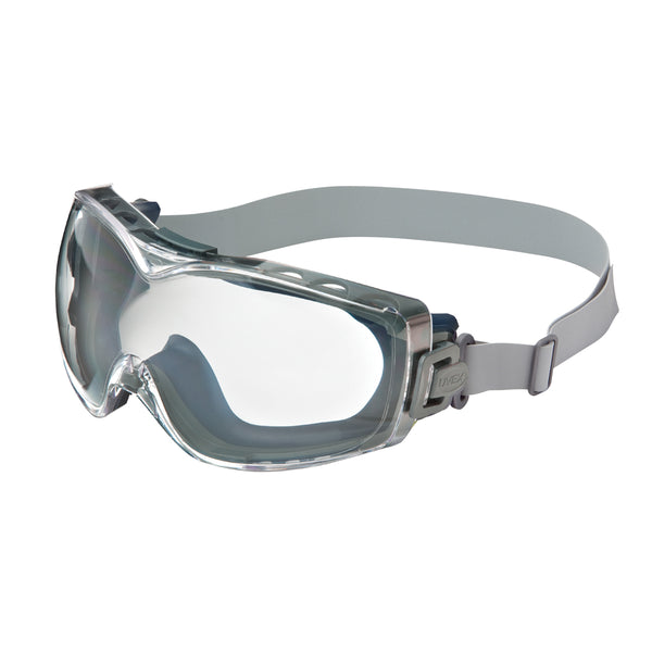 Honeywell Uvex Stealth® OTG Indirect Vent Chemical Splash Over The Glasses Goggles With Blue Low Profile Wrap Around Frame And Clear HydroShield® Anti-Fog Lens