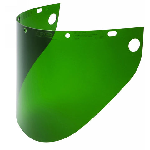 "\ Honeywell Fibre-Metal® 9 3/4"" X 19"" X .06"" Dark Green Propionate Extended View Faceshield -Price is per 1 Each"