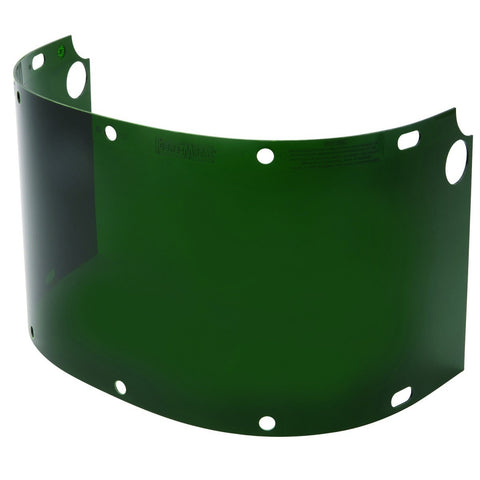 "Honeywell Fibre-Metal® 8"" X 16 1/2"" X .06"" Green Shade 5 Propionate Extended View Faceshield -Price is per 1 Each"