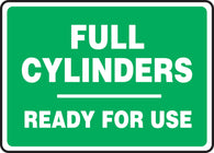 "Accuform® 7"" X 10"" White And Green Plastic Safety Signs ""FULL CYLINDERS-READY FOR USE"""