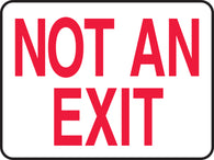 "Accuform 10"" X 14"" Red And White Plastic Safety Signs ""NOT AN EXIT"""