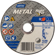 "Norton® 4"" X .040"" X 5/8"" Metal RightCut® Medium Grit Aluminum Oxide Portable Type 01/41 Right Angle Cut Off Wheel   -Price is per 25 Each"
