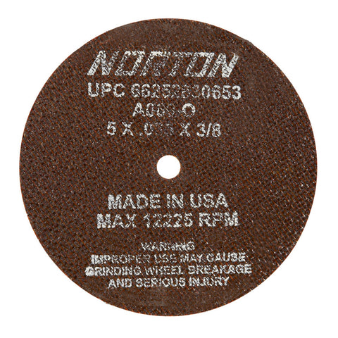 "Norton® 5"" X .035"" X 3/8"" A60-OBNA2 Medium Grit Aluminum Oxide Type 01/41 Small Diameter Cut Off Wheel"