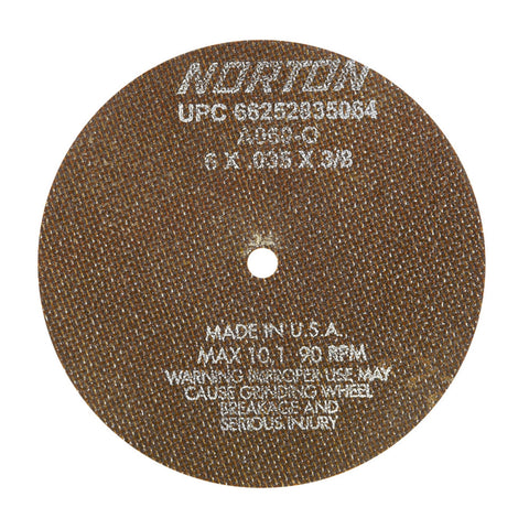 "Norton® 6"" X .035"" X 3/8"" A60-OBNA2 Medium Grit Aluminum Oxide Type 01/41 Toolroom Cut Off Wheel   -Price is per 25 Each"