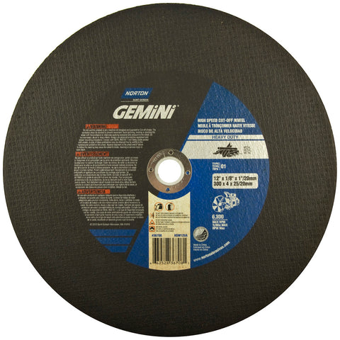 "Norton® 12"" X 1/8"" X 1"" Gemini® Metal Extra Coarse Grit Aluminum Oxide Portable Type 01/41 High Speed Cut Off Wheel"