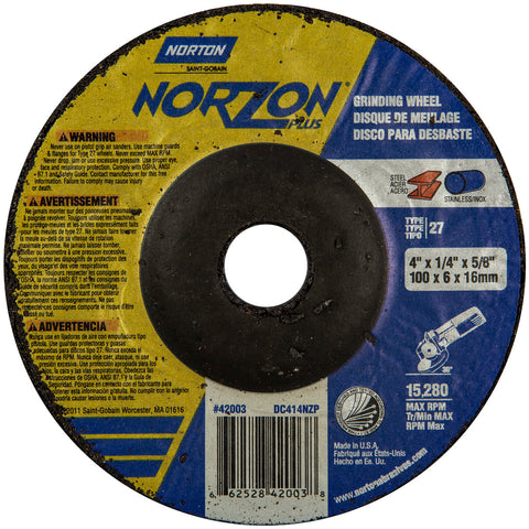 "Norton® 4"" X 1/4"" X 5/8"" NorZon Plus® Extra Coarse Grit Ceramic Alumina Type 27 Depressed Center Grinding Wheel   -Price is per 25 Each"