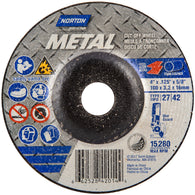 "Norton® 4"" X 1/8"" X 5/8"" Metal Extra Coarse Grit Aluminum Oxide Type 27 Depressed Center Combination Wheel   -Price is per 25 Each"
