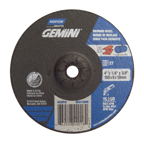 "Norton® 4"" X 1/4"" X 3/8"" Gemini® Extra Coarse Grit Aluminum Oxide Type 27 Depressed Center Grinding Wheel"