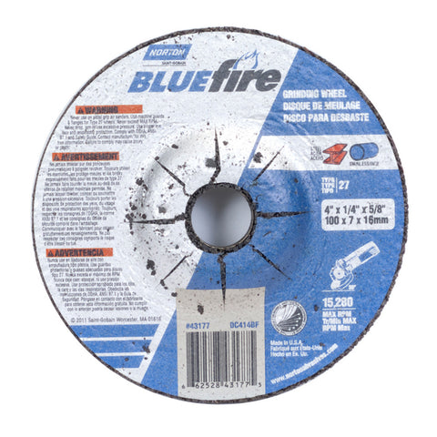 "Norton® 4"" X 1/4"" X 5/8"" BlueFire® Extra Coarse Grit Zirconia Alumina Type 27 Depressed Center Grinding Wheel   -Price is per 1 Each"