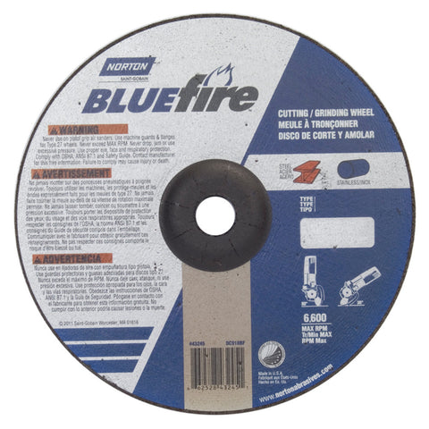 "Norton® 9"" X 1/8"" X 7/8"" BlueFire® Extra Coarse Grit Zirconia Alumina Type 27 Depressed Center Combination Wheel"