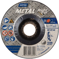 "Norton® 4 1/2"" X .045"" X 7/8"" Metal RightCut® Coarse Grit Aluminum Oxide Type 27/42 Depressed Center Cutting Wheel   -Price is per 25 Each"