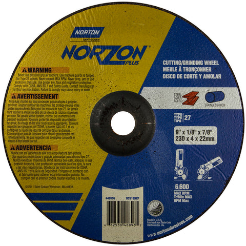"Norton® 9"" X 1/8"" X 7/8"" NorZon Plus® Extra Coarse Grit Ceramic Alumina Type 27 Depressed Center Combination Wheel   -Price is per 20 Each"