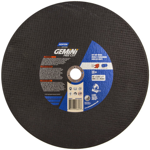"Norton® 14"" X 7/64"" X 1"" Gemini® Coarse Grit Aluminum Oxide Portable Type 01/41 Chop Saw Cut Off Wheel   -Price is per 10 Each"